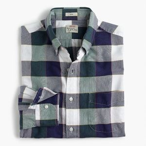 New J Crew American Cotton Plaid Slim Oxford Shirt